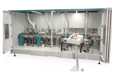 Machine with twelve sanding aggregates for high speed sanding of MDF moldings.